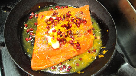 Salmon with Pomegranate Seeds and Tangerine