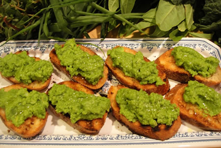 Fava Bean Bruschetta on Plate