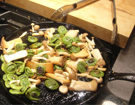 Sauteed Fiddleheads and  Trumpet mushrooms
